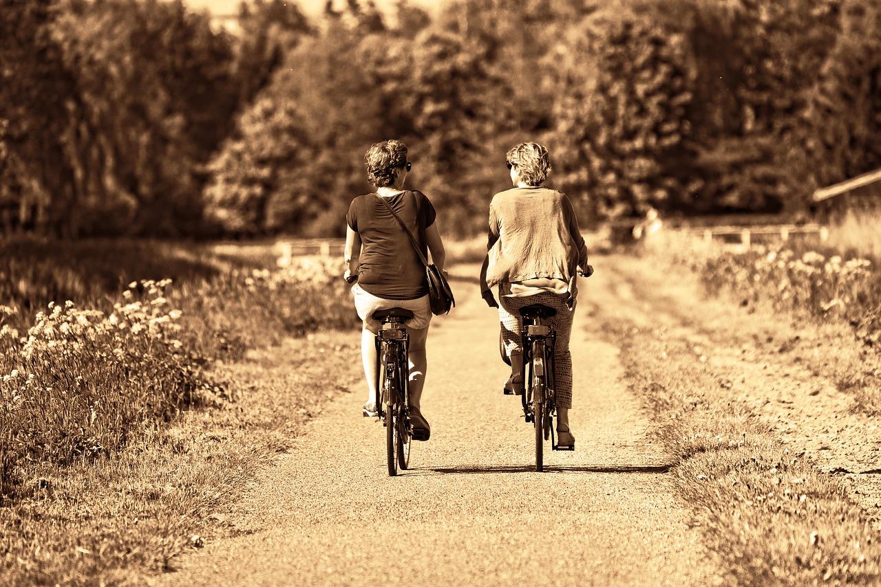 elderly bicycling