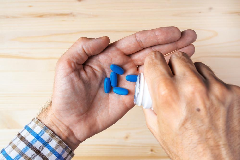 Cialis pills in hands