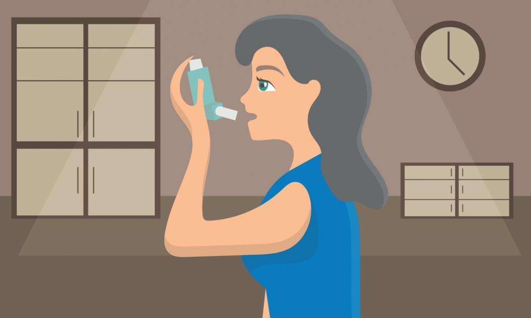 cartoon woman using ventolin inhaler